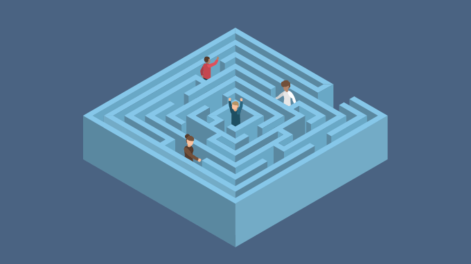 Team finding its way in a maze